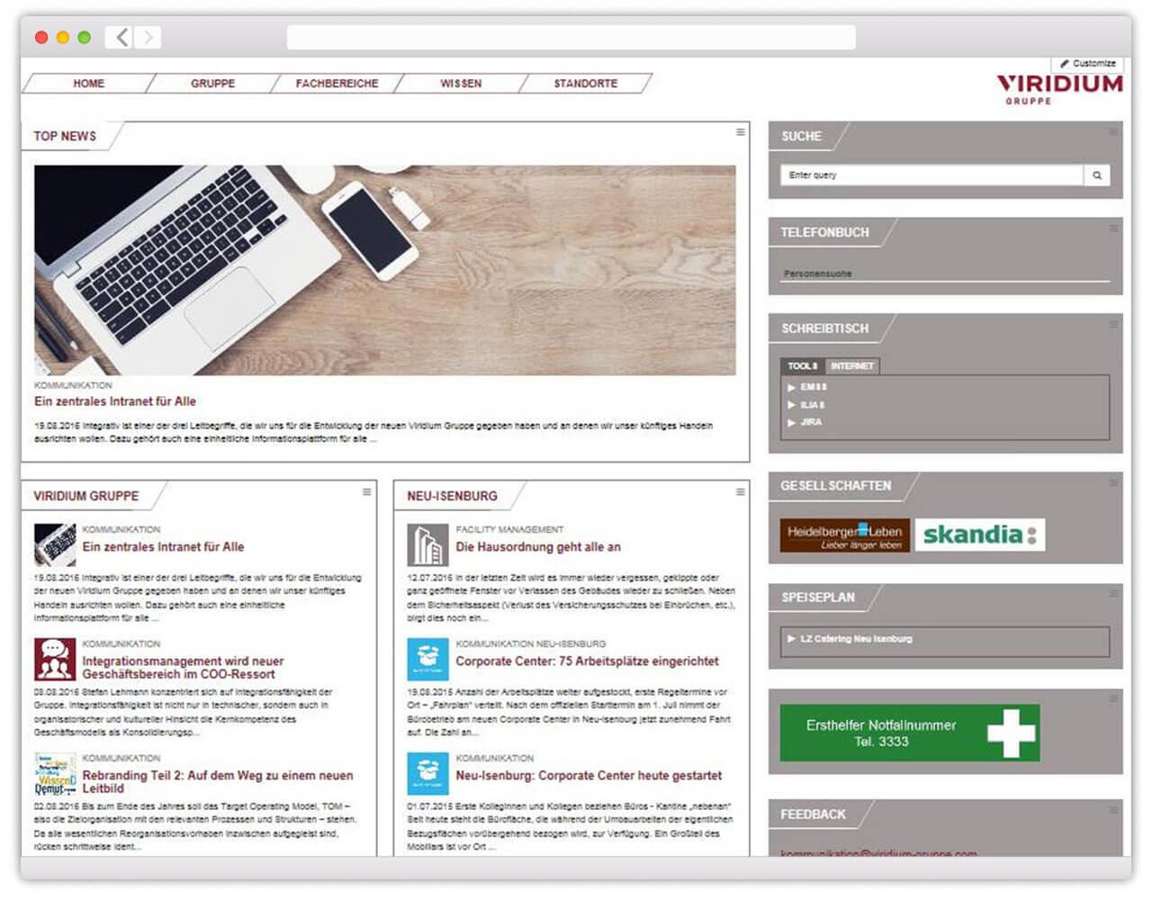 Die Startseite des neuen Intranets der Viridium Gruppe.