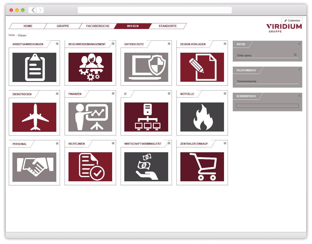 Screenshot des neugestalteten Intranets für die Viridium Gruppe.